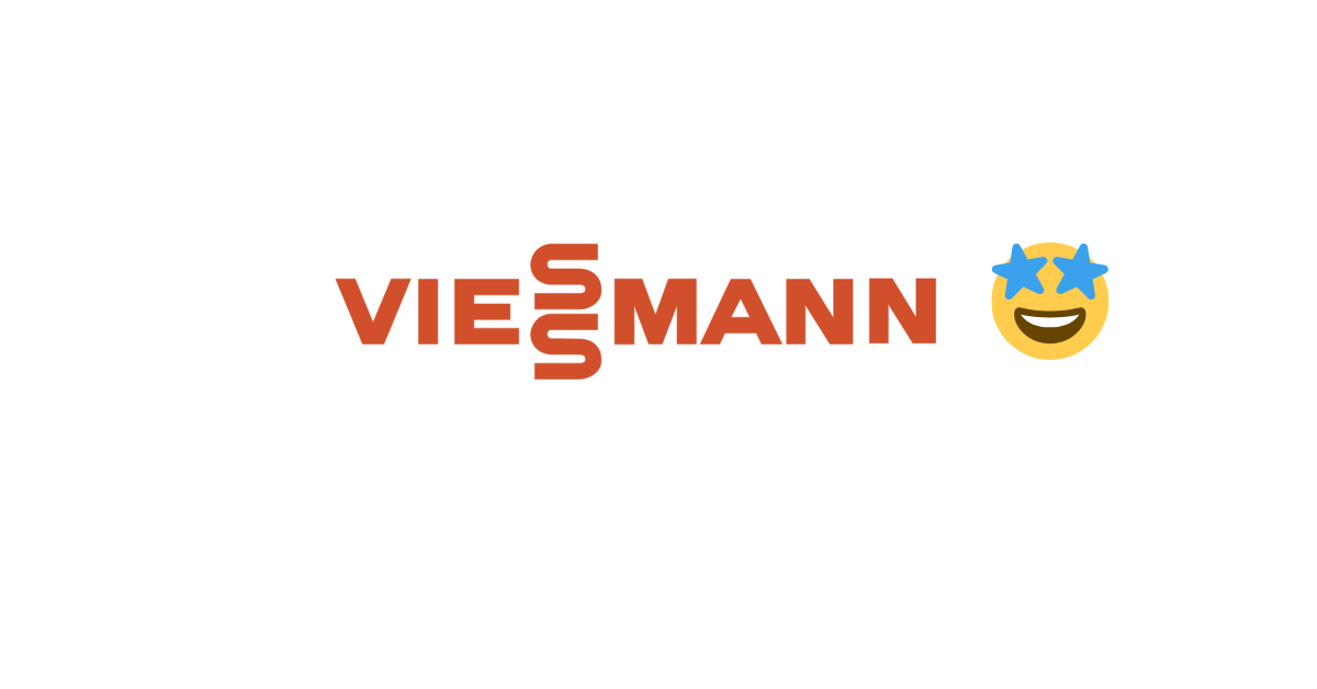 Viessmann logo with heart face emoji